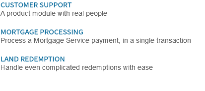 CUSTOMER SUPPORT A product module with real people MORTGAGE PROCESSING Process a Mortgage Service payment, in a single transaction LAND REDEMPTION Handle even complicated redemptions with ease